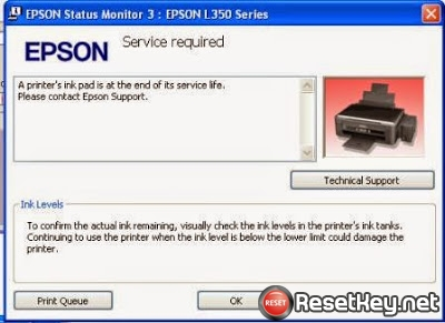 Epson R280 printer waste ink pad counter overflow - end of service