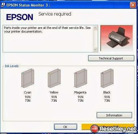 Epson T23 printer waste ink pad counter overflow - end of service