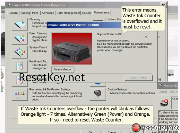 This error means Canon G3600 printer Waste Ink Counter is overflowed and it must be reset
