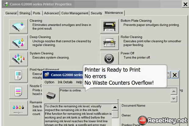 Reset Canon G2000 code 5B00 Waste Ink Counter Error | Wic