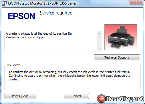 Epson E-340 problem A printer's ink pad is at the end of its service life. Please contact Epson Support