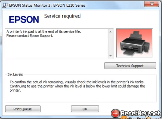 Epson L380 resetter - Windows screen error message
