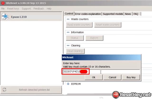 Enter epson l210 wic reset key